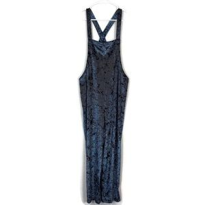 UO Blue Crushed Velvet Shapeless Overalls Jumpsuit